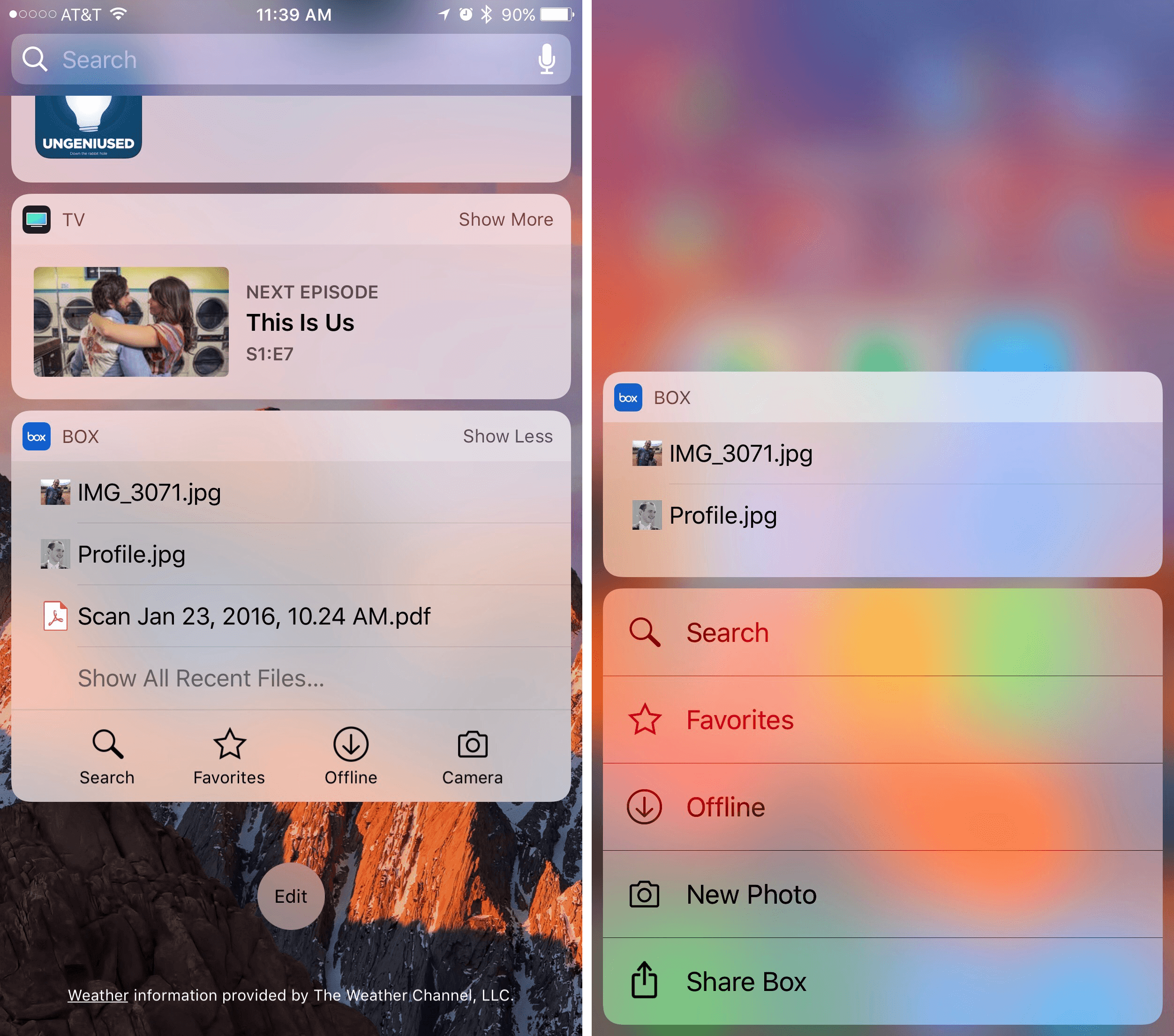 Quickly accessing files can also happen through Box's widget